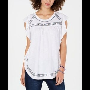 STYLE&CO EMBROIDERED FLUTTER SLEEVE TOP